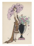 Frock Fur and Feather Fan Premium Giclee-trykk av Georges Barbier