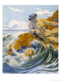 On a Rocky Shore Giclee Print by Margaret C. Cook