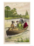 Four Ladies and a Young Man Go for a Ladylike Row Giclee Print by Dalziel