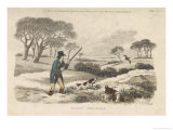 Snipe, a Hunter and His Dogs Go Snipe-Shooting in the Snow- Covered Fields Giclee Print by  Ackermann