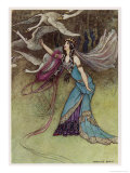 The Queen and the Six Swans Giclee Print by Warwick Goble