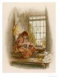 Girl Sits in a Window-Seat Mending Her Doll Giclee Print by M. Ellen Edwards