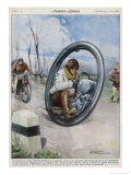 At Saint-Etienne a French Inventor Drives His Monocycle Inside the Wheel at Speeds up to 140 Km/H Giclee Print by Rino Ferrari