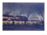 An Engine Driver's View of the Station as He Approaches It at Night, a Picture Giclee Print by Holland Browne