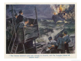 The British Navy Destroys a German Destroyer, Illustration to a Fiction Story Based Giclee Print by Gordon Browne