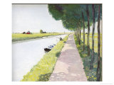 Dutch Scenery: Typical Canal with Fisherman Giclee Print by Andre Girard
