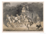 Team of Hauliers Pull a Wagon Through the Indian Night Giclee Print by Captain G.f. Atkinson