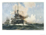 Warships of the Royal Navy Engaged in Gun Practice Giclee Print by Charles J. De Lacy