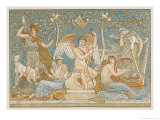 Various Musicians Playing Various Instruments: a Harp a Lyre Pipes Hunting Horn Giclee Print by Walter Crane