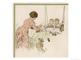 Mother Pushes Her Two Babies on a Swing Giclee Print by Woldemar Friedrich
