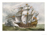 Deptford-Built Warship in the Carrack Style Giclee Print by Cruikshank 