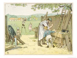 The Carpenter Working at His Bench Makes a Pair of Stilts for a Boy Giclee Print by Francis Bedford