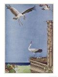 The Father Stork Brings a Frog to His Nestlings Lámina giclée por Harry Clarke