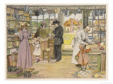 Rural General Store with Various Customers Impressão giclée por Francis Bedford
