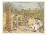 Bricklayers are Building a Colonnade to Line the Garden Path Giclee Print by Francis Bedford