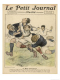 Scottish Player is Tackled by a Pair of Frenchmen Giclee Print by Andre Galland