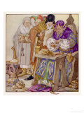 The King was in His Counting- House Counting out His Money Giclee Print by Anne Anderson