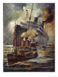 Torpedoed Passenger Steamship is Assisted into Port by Tugs Giclee Print by Charles J. De Lacy