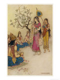 Damayanti Daughter of Bhima King of Vidarbha Chooses Prince Nala as Her Husband Giclee Print by Warwick Goble