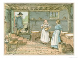 The Dairyman Brings Fresh Milk in Two Buckets Hung on a Yoke into His Dairy Giclee Print by Francis Bedford