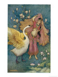Swan Grateful for Being Spared by Prince Nala Tells Damayanti How Handsome He Is Giclee Print by Warwick Goble