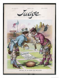 Two Vendors Bow to Each Other Over the Football in a Satirical View of the Sport's New Rules Giclee Print by  Flohri