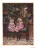 Two Little Girls Dressed in Pink Outfits Sit at the Counter of a Toy and Sweet Shop Giclee Print by Helen Allingham
