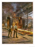 Rolling Steel in a British Steelworks Giclee Print by Charles J. De Lacy