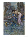 Sita Finds Rama (Seventh Avatar of Vishnu) Among the Lotus Blooms Giclee Print by Warwick Goble
