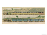 Liverpool-Manchester Railway, Two Passenger Trains with Closed Carriages Giclee Print by Isaac Shaw