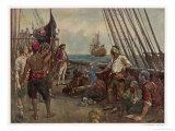 Pirate Crew Defy a Naval Warship Giclée-tryk af Bernard F. Gribble