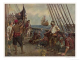 Pirate Crew Defy a Naval Warship Giclee Print by Bernard F. Gribble