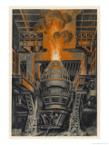 Bessemer Converter in the Longwy Steelworks France Giclee Print by P. Grosjean