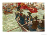 The Restoration Charles II Lands at Dover Giclee Print by Charles M. Padday