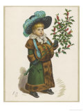 Girl in Fur-Trimmed Coat Fur Muff Gloves and Feathered Hat Carrying a Fair-Sized Branch of Holly Giclee Print by Kate Greenaway