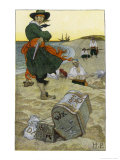 Captain Kidd Buries His Treasure Premium Giclee Print by Howard Pyle