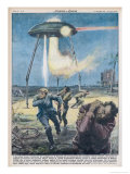 A UFO Terrorises the Local French Residents with Powerful Rays Giclee Print by Walter Molini