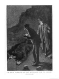 The Hound of the Baskervilles Holmes and Watson Discover &#39;A Prostrate Man Giclee Print by Sidney Paget