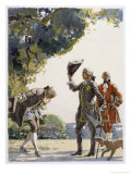 Two Gentlemen Meet, Both Doff Their Hats the Inferior One Bows as Well Giclee Print by Auguste Leroux