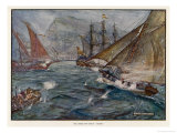 Captain Fagg in the &quot;Buck&quot; Out-Sails the Spanish Blockade Giclee Print by J.r. Skelton