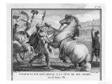 Slave Revolt Spartacus as a Symbol of His Determination Kills His Own Horse Before the Final Battle Reproduction procédé giclée par Augustyn Mirys