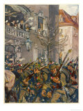 """Der Ausmarch"" German Soldiers Bombarded with Flowers as They March off to the Front Giclée-Druck von Angelo Jank"