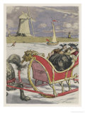 Casanova and a Friend Enjoy a Sleigh Excursion on the Frozen Canals of Holland Giclee Print by Auguste Leroux