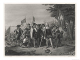 Columbus Lands on Watling Island Giclee Print by H.b. Hall