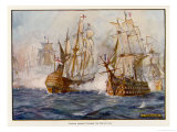 Rodney Defeats de Grasse off Dominica Giclee Print by J.r. Skelton