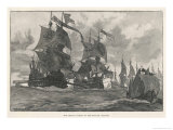 The Spanish Armada the Spanish Fleet Sails up the English Channel Giclee Print by W.h. Overend