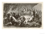 Second Punic War: Hannibal at Casilinum Sends Bulls Carrying Flaming Faggots into the Roman Lines Giclee Print by H. Leutemann