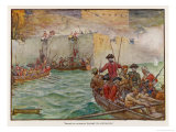 Vernon Takes Porto Bello (Panama) from the Spanish Giclee Print by J.r. Skelton