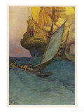 Pirates Attacking a Spanish Galleon in the West Indies Giclee Print by Howard Pyle