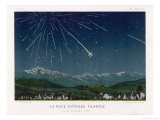 """Shooting Stars"", The Meteorite Shower of November 1872 Seen Over Hills Giclee Print by E. Guillemin"